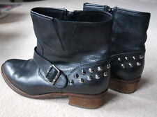 Bertie Black Leather Studded Ankle Boots Size 6 in VGC!