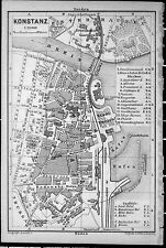KONSTANZ + Schaffhausen, alter Stadtplan, gedruckt ca. 1900
