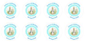 24 Personalised Stickers Round Peter Rabbit Christening Baby Shower 1st Birthday