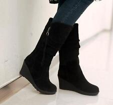 Fashion Womens Suede Mid Wedge Increasing Mid Calf Boots Casual Shoes Plus size