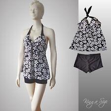 2-Set Tankin & Hotpants Softcups Push Up Bikini Badeanzug schwarz weiß Gr.44/46