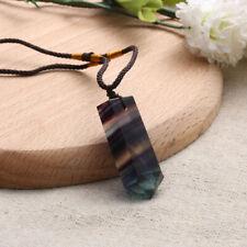 Gemstone Natural Fluorite Crystal Quartz Healing Chakra Stone Pendant Necklace