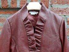 Women's LEATHER  Dressy Jacket/Blazer WINE Red BURGUNDY RUFFLE w/HiddenTie Front