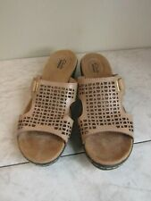 Clarks Collection Leather Cut Out Strap Slide Sandal Shoes Women's Size 8 M