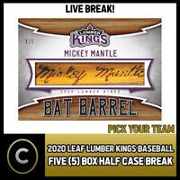 2020 LEAF LUMBER KINGS BASEBALL 5 BOX (HALF CASE) BREAK #A799 - PICK YOUR TEAM