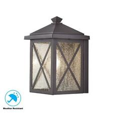 Wythe 1-Light Black Outdoor Wall Lantern Sconce with Seeded Glass