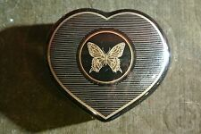 Black Porcelain Trinket Box w/ gold butterfly, Papillon by Otagiri, Japan