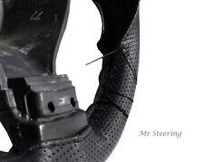 Per PEUGEOT 206 vero BLACK perforata ITALIAN LEATHER STEERING WHEEL COVER NUOVA