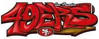 "San Francisco 49ers Graffiti Die Cut Vinyl Decal NFL 7.56"" x 3.25"""