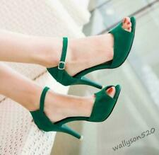 Womens Sexy Pumps Ankle Buckle Strap High Stiletto Heel Peep Toe Party Sandals