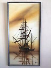 Vintage original framed signed oil painting retro 70s Maritime Ship Galleon