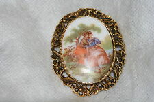 RETRO ~ Vintage Beautiful Fragonard scenic Cameo porcelain BROOCH pin