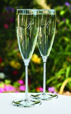 Glittering Beads Personalized Wedding Toasting Flutes (10053)
