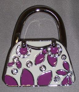 Folding Purse Hook Handbag Holder Bag Hanger Flower Petals Purple Blue Red Black