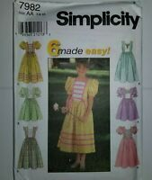 Dress Modest Easter 7 8 10 Sewing Pattern Simplicity 7982 Childs UC FF Girl