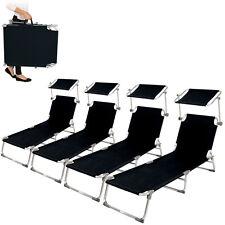4x Alu chaise longue de jardin pliante transat bain de soleil +pare soleil noir