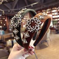 Women's Crystal Headband Fabric Hairband Elegant Bead Hair Band Hoop Accessories