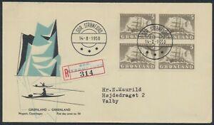 GREENLAND. FDC 1958 August 14. 5 Kr. grey Ship, block of 4 (PK1286)