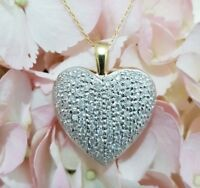 Large 1ct Diamond Heart Pendant Necklace In 18ct Yellow & White Gold