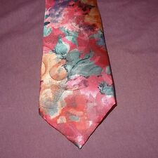 """Tie Necktie Abstract Green Black Pink Orange  56"""" 100% Polyester U.S.A. Generra"""