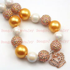 Gold Pearl Beads With Crown Pendant Chunky Bubblegum Girl necklace for kidsCB641