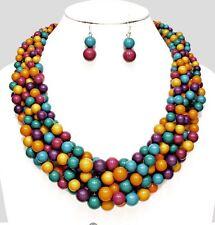 Multi Color Purple Blue Orange Multi Layered Strand Pearl Bead Necklace Set