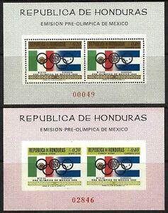 HONDURAS 1968 SCOTT C435note OLYMPIC PERF & IMPERF SHEETS MNH