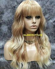 Human Hair Blend Wavy W. Bangs Blonde Mix Full Wig Heat Ok Hair piece #T27.613