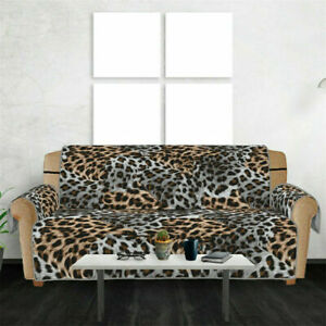 UK Anti-Slip Leopard Printed Sofa Couch Cover Mat Furniture Chair Seat Cover