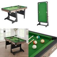 """60"""" Folding Small Pool Table with Accessories Green Cloth Billiard 5 Foot Kids"""