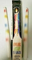 Vtg TAPER DRIP CANDLES Multi colors retro dinner candlesticks Set of 2 in box