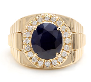 8.70Ct Natural Diamond & Sapphire 14K Solid Yellow Gold Men's Ring