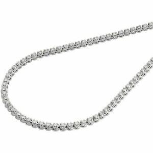 10K White Gold Mens Prong Set 1 Row Genuine Diamond Chain Tennis Necklace 5 Ct.