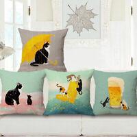 18'' Black Cat Cotton Linen Pillow Case Throw Cushion Cover Home Sofa Decor