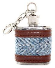 1oz Harris Tweed Blue Herringbone Stainless Steel Keyring Hip Flask Wedding Gift