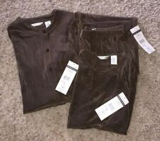 NWT Laura Ashley 3 Pc Travel Knit Set Outfit Medium Brown Olive Pants Jacket