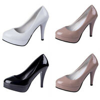 Womens High Slim Heels Pumps Round Toe Slip On Platform Leather Shoes Nightclub