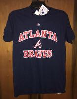 NWT Men's MLB Atlanta Braves T-Shirt By Majestic. Size Small & Navy Blue.