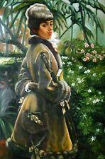 portrait femme avec chapeau d'apres Tissot tableau peinture huile sur toile / wo