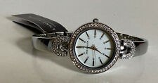 ANNE KLEIN SWAROVSKI CRYSTALS WHITE MOTHER OF PEARL DIAL SILVER BANGLE WATCH $85