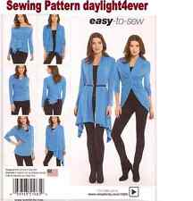 Women Knit Wrap Top Tie Cardigan Sewing Pattern Simplicity 1065 x Size XS-XL New