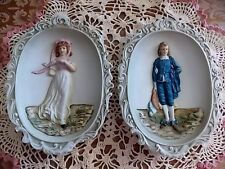 Vintage Lefton Oval 3D WALL PLAQUE SET-Pinkie & Blue Boy-Victorian Style-MINTY