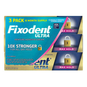 3 x FIXODENT ULTRA  DENTURE ADHESIVE CREAM 2.2 OZ  MAX HOLD (3 pack)