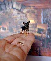 DWARF PINSCHER Dollhouse realistic OOAK miniature 1:12 handsculp.handmade
