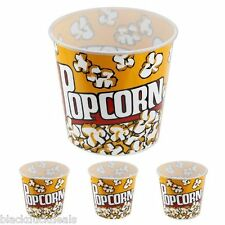 Set of 4 Fun Movie Theater Style Plastic Popcorn Tubs /Bowls-Presentation is Key