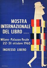 CARTONCINO,LOCANDINA,1960,MOSTRA INTERNAZIONALE DEL LIBRO,MILANO R.BOLLA ART