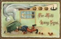 Halloween Pumpkin Head Man Bobbing Apples c1910 Postcard