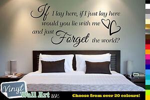 IF I LAY HERE - Snow Patrol Lyrics Vinyl Wall Art Quote Sticker Decal + FREE P&P