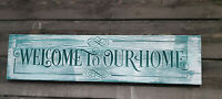 """Home Decor Farmhouse Shabby """"Welcome to Our Home"""" Carved Sign in Clear Pine"""