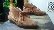 Vtg Suede Leather Chukka Ankle Boots Faux Shearling Moccasins Womens 5.5, 36